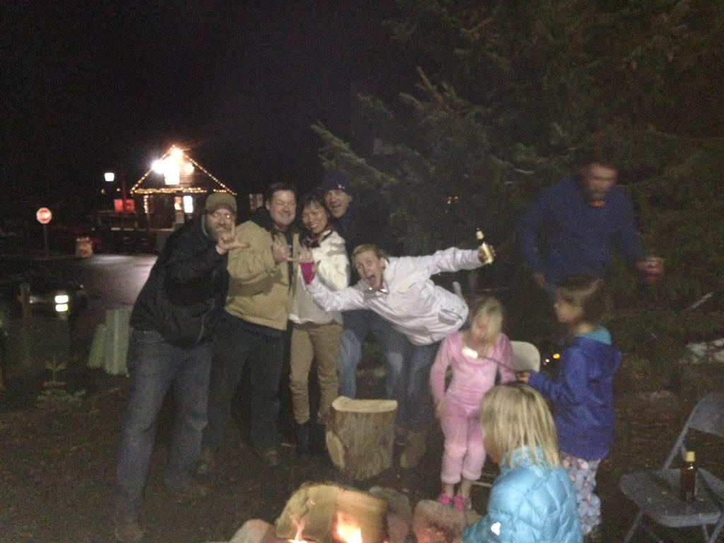 Goofing Off at the New Years Eve Fire-Pit